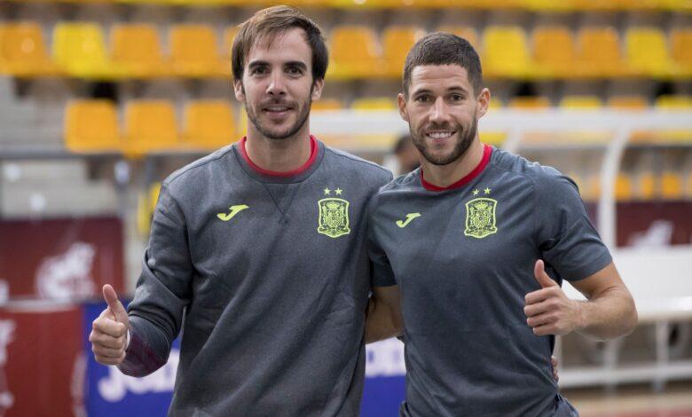 Carlos Barrón i Raúl Campos entrenant amb la Selecció // Palma Futsal
